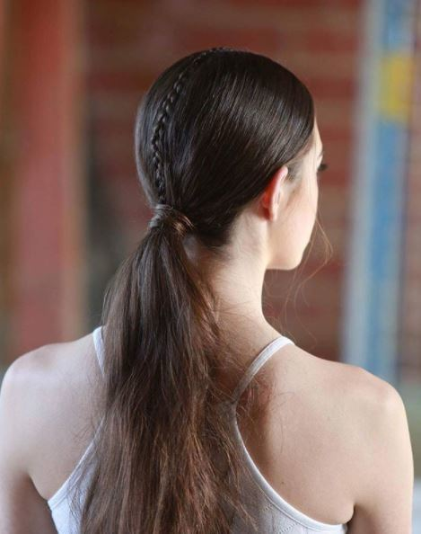 Long brown hair in low ponytail with single braid down the centre shown from back view