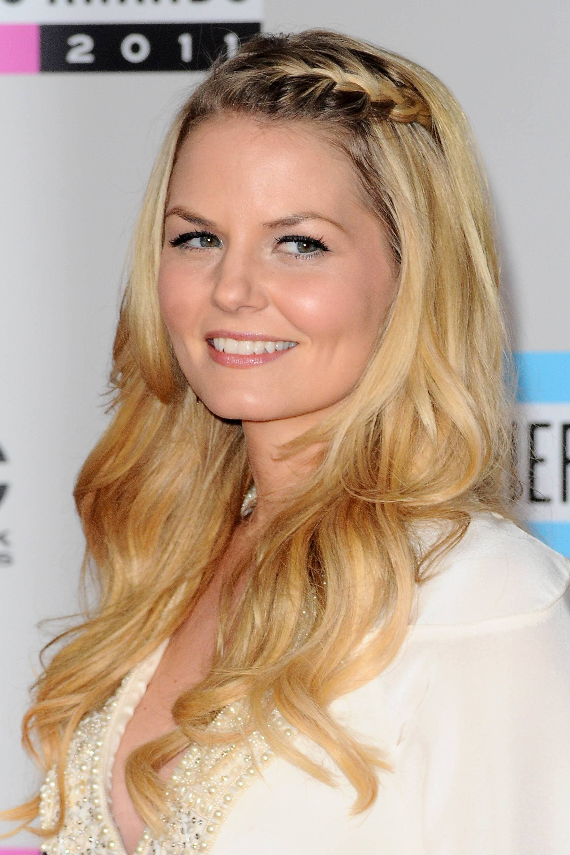 easy braided hairstyles for long hair: Jennifer Morrison with braided fringe hairstyle and long waves