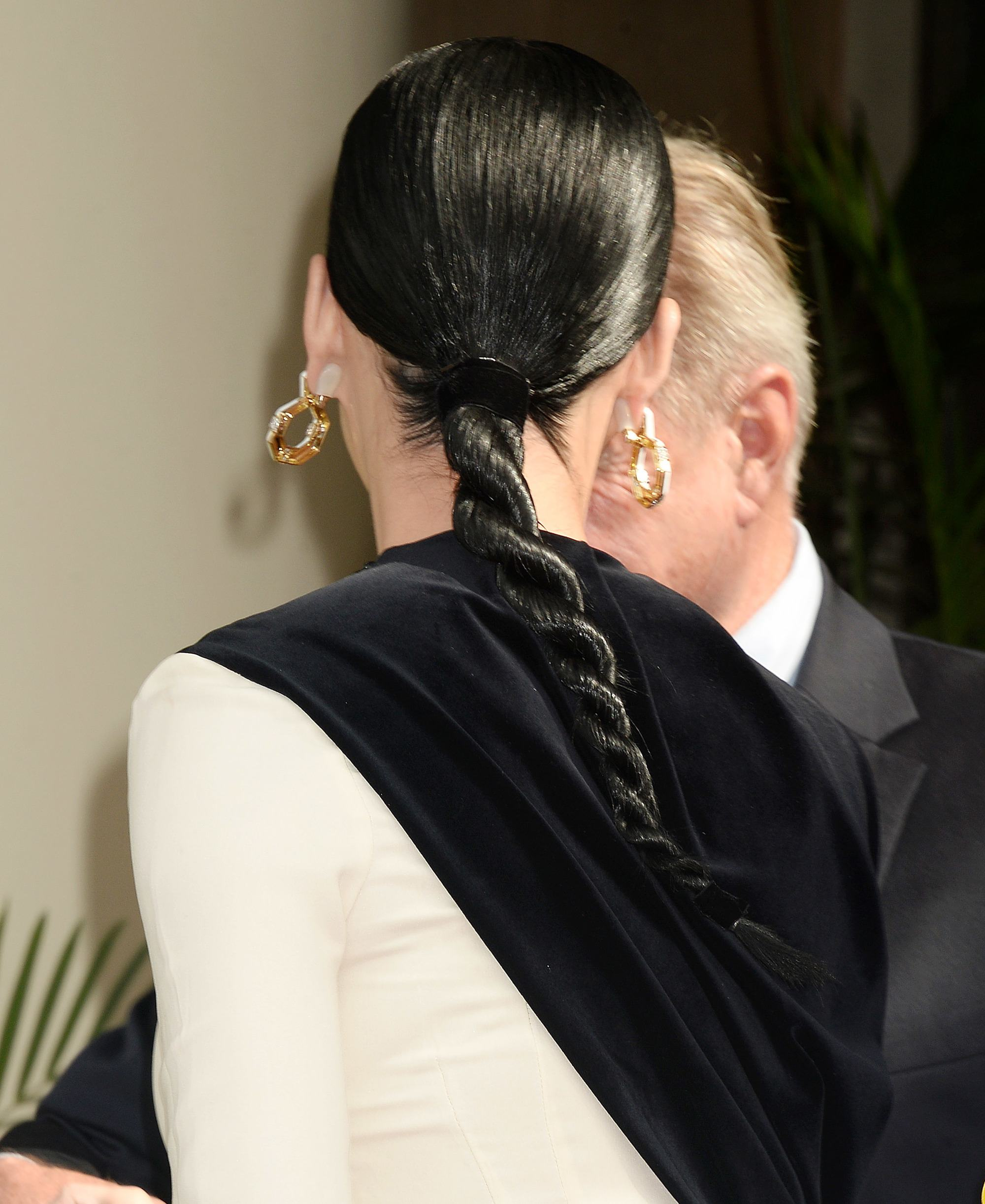 simple braids for long hair: katy perry with rope twisted braid hairstyle