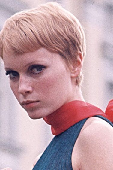 Mia Farrow wearing her blonde hair in pixie style in 1960s hairstyle