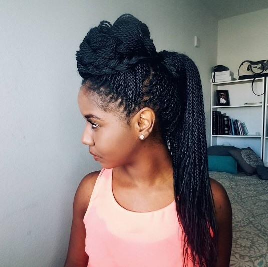Long box braids hairstyles: side profile photo of a woman with long box braids in a pompadour style