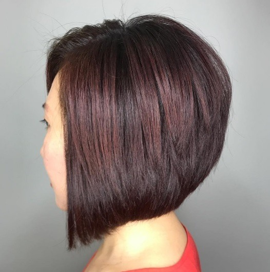 side profile of a woman with a brunette a line stacked bob