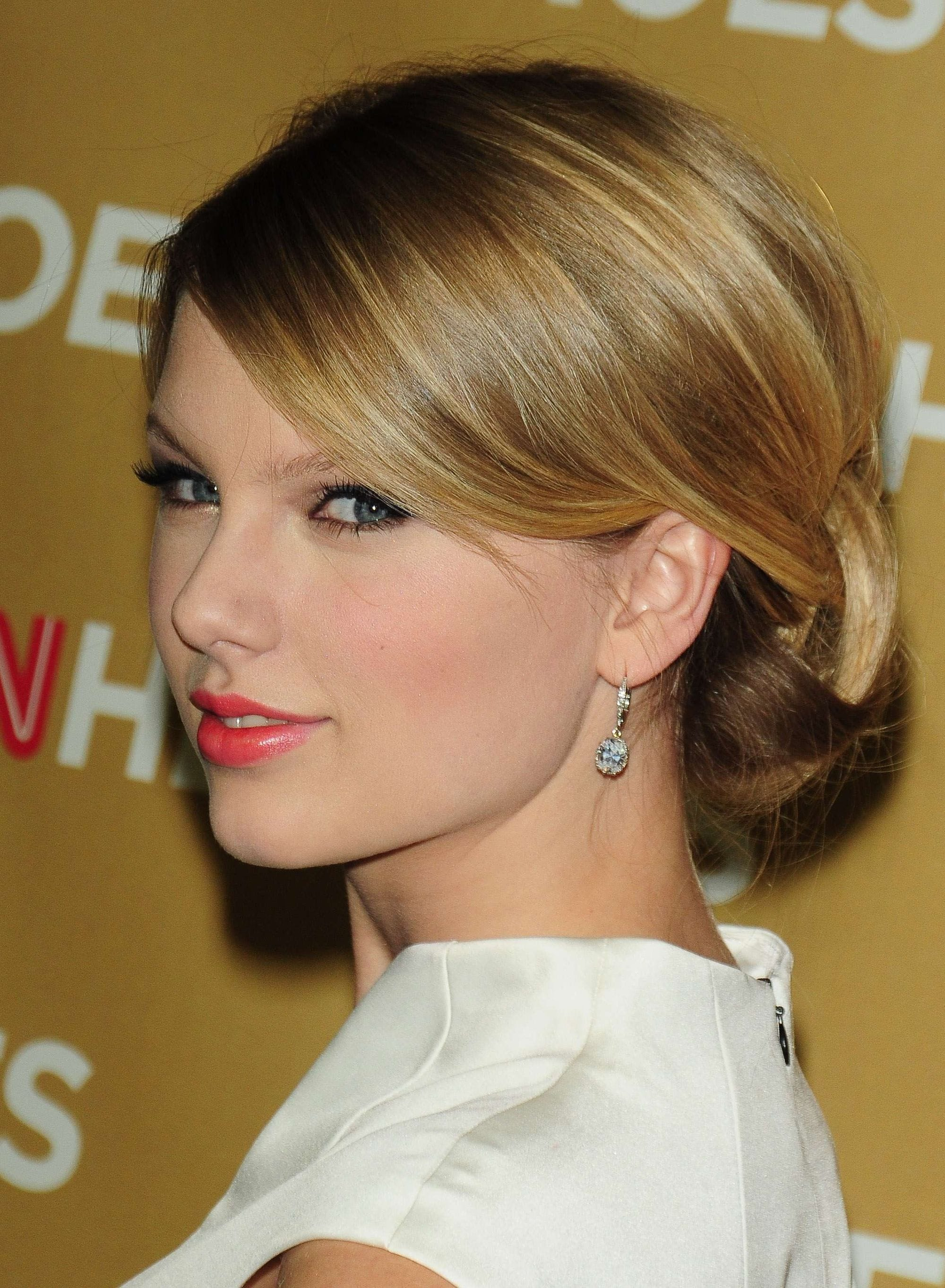 singer taylor swift in 2008 with a sleek updo hairstyle