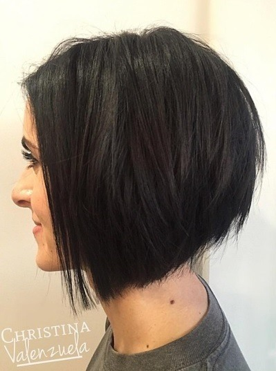 side profile of a brunette woman with a textured a line bob