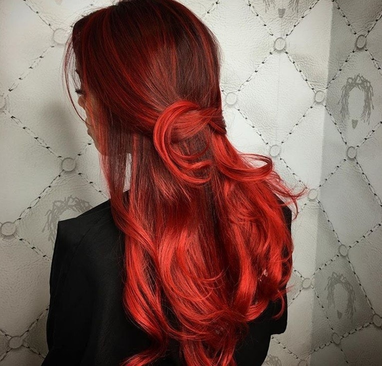 Brown hair with bright red highlights brown hairs back shot of red hair with highlights pmusecretfo Choice Image