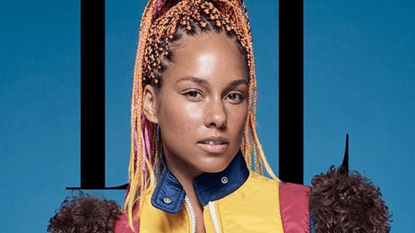 shot of Alicia keys with neon box braids styled into a high ponytail