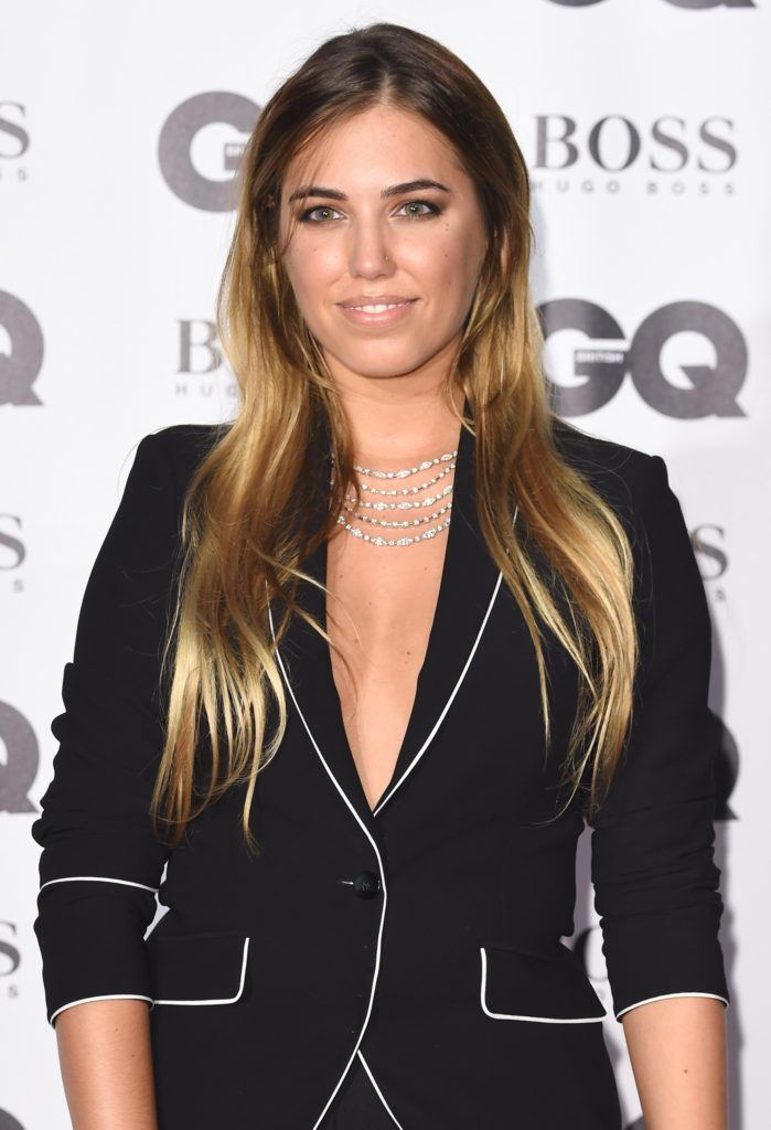 model amber le bon at the gq men of the year awards with long straight balayage hair