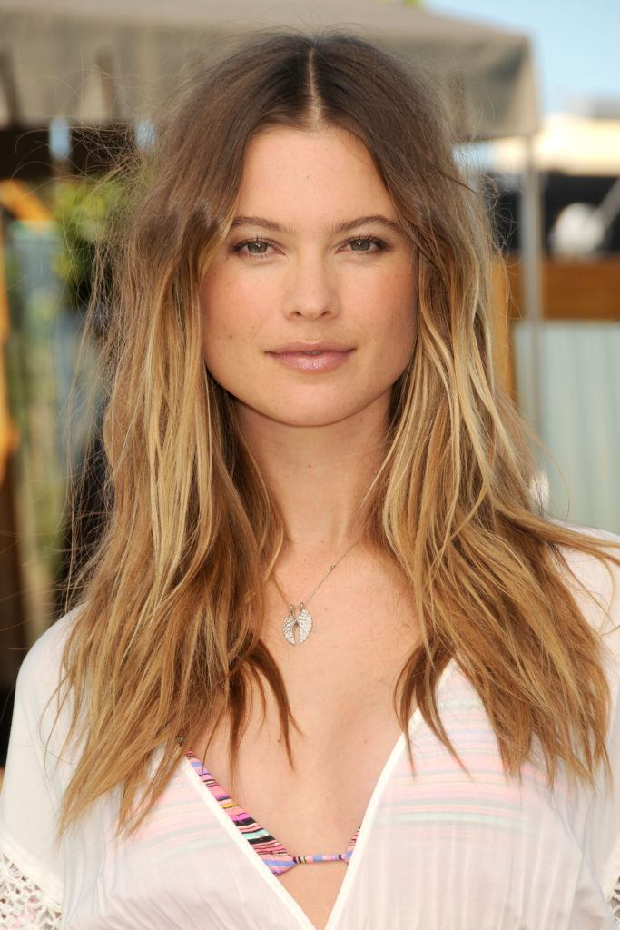 sports illustrated model behati prinsloo with tousled straight balayage honey blonde hair