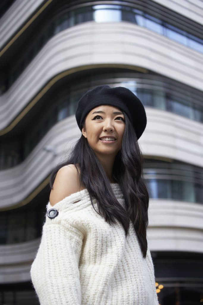 1b91728b4ea6e asian street style blogger at london fashion week wearing a black beret hat