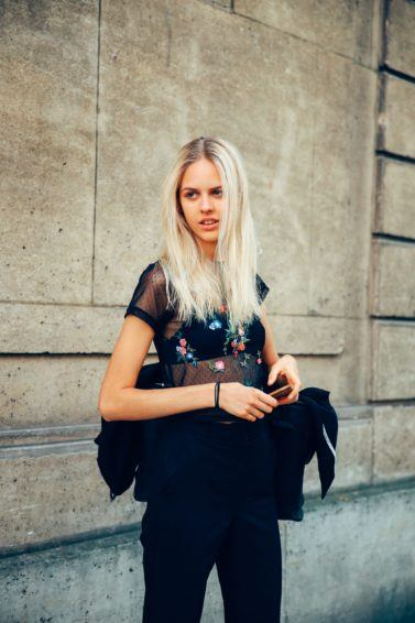 streetstyle shot of a blonde model
