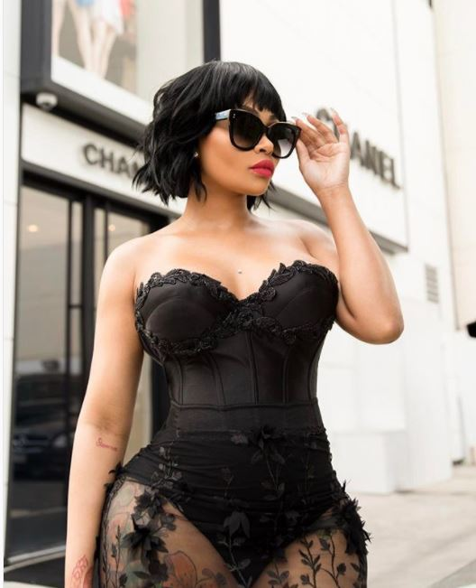 Blac Chyna with black wavy bob with bangs