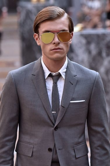 male model at thom browne show with combover hair