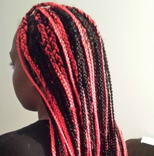 back view of a woman with braided hair with pops of red