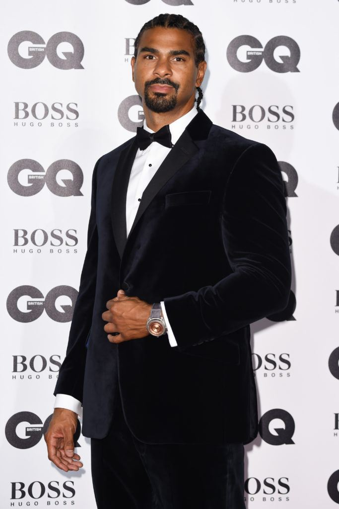 shot of david haye on the GQ Men of the Year Awards red carpet