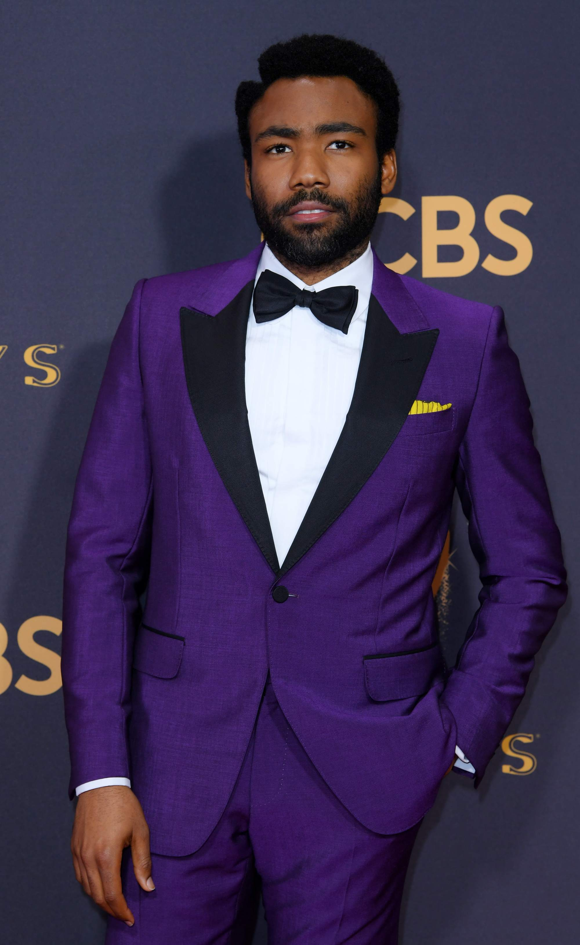 Emmy Awards 2017: Donald Glover with short black afro hairstyle with a side parting