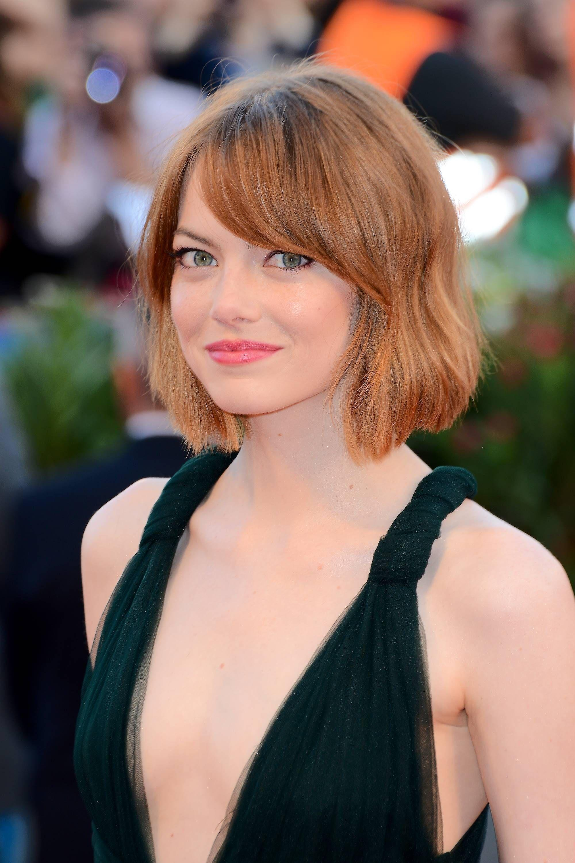 actress emma stone with short bob hair and side bangs