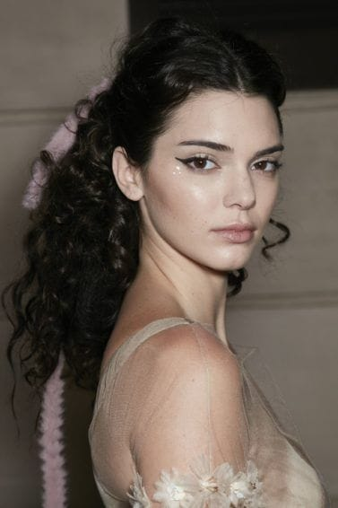 shot of kendall jenner with spiral curls hairstyle