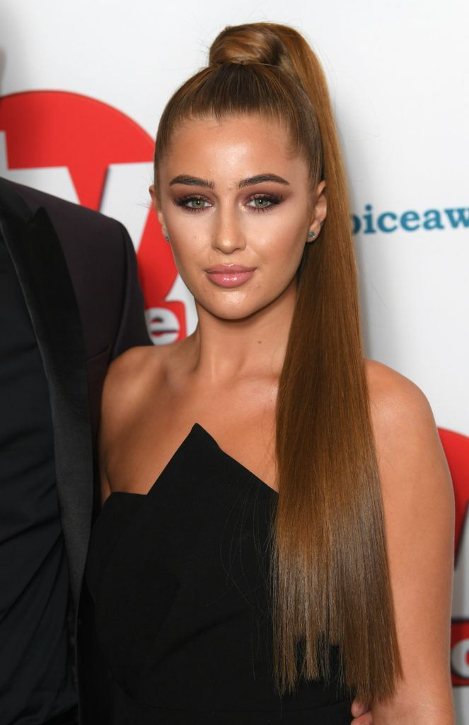 TV Choice Awards 2018 Love Island star Georgia Steel with her brunette hair in a long high ponytail