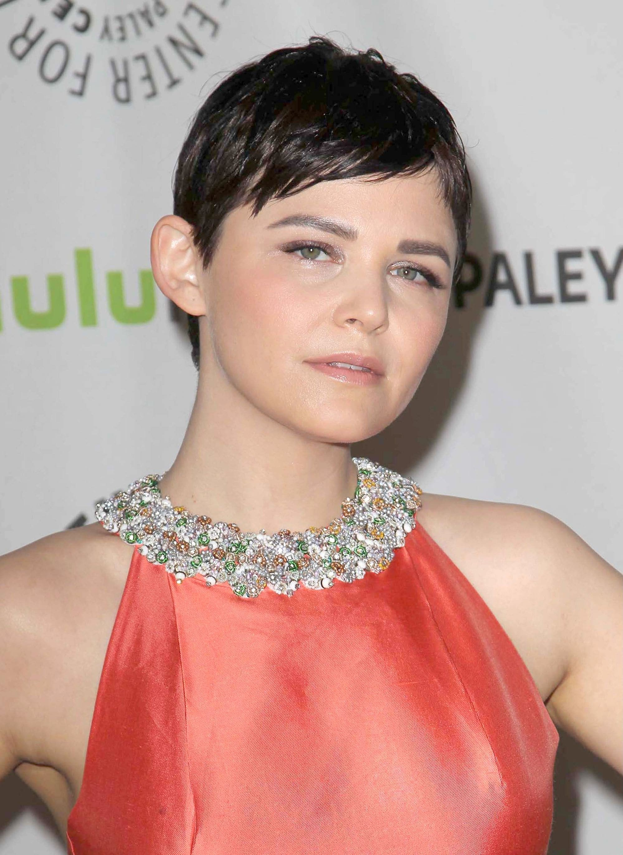once upon a time actress ginnifer goodwin with a short pixie crop and textured bangs