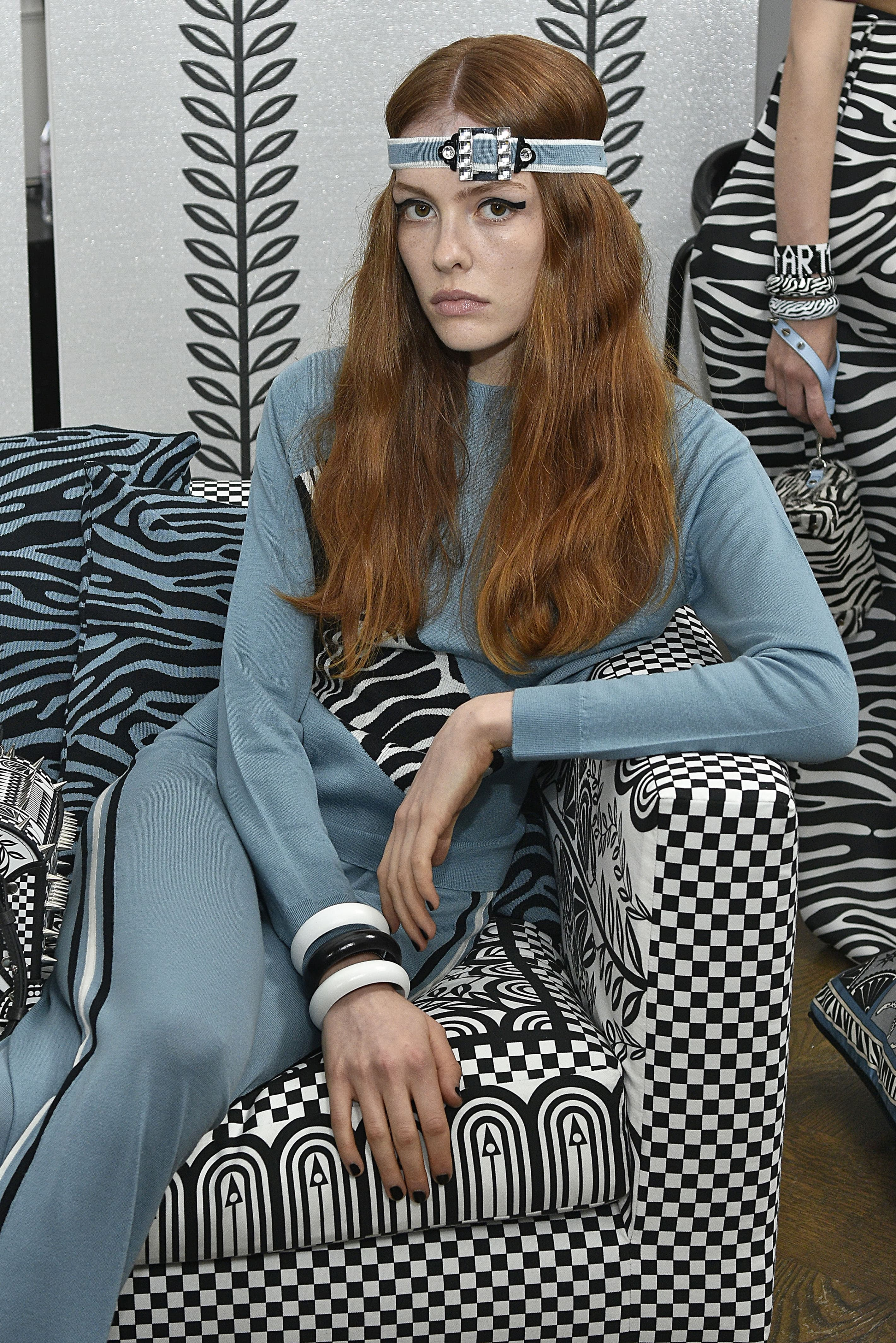 redhead model at holly fulton's ss18 london fashion week show with an embellished headband
