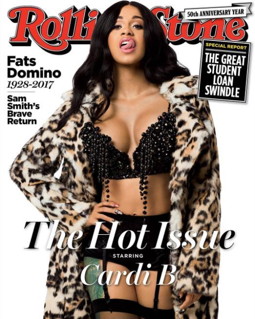 Cardi B black hair with waves rolling stone cover