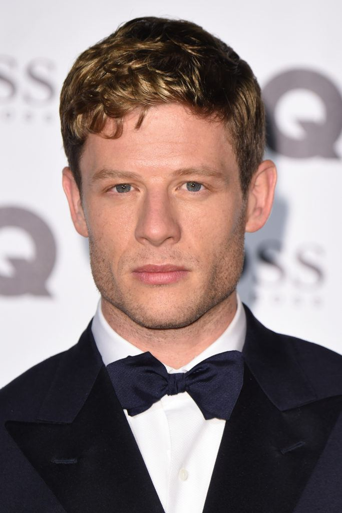 close up shot of james norton with textured fringe hairstyle at the GQ Men of the Year Awards