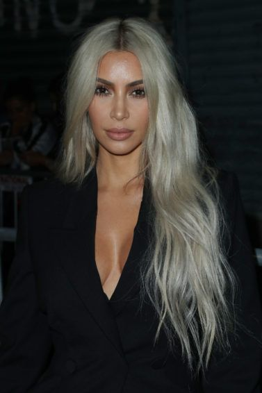 close up shot of kim kardashian west with silver blonde hair at new york fashion week