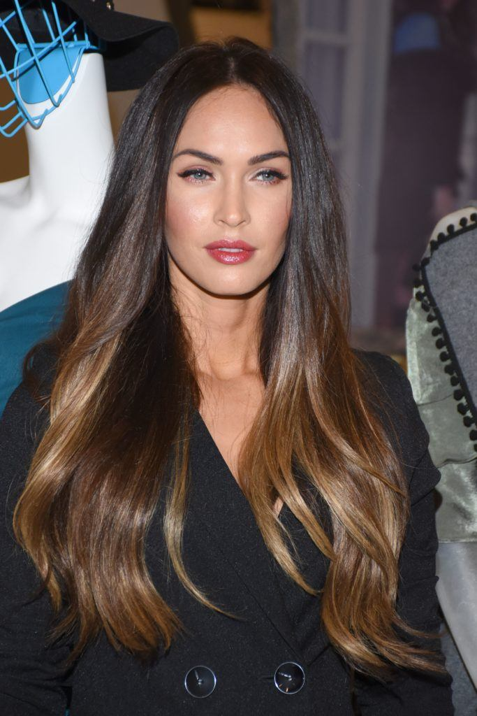 megan fox with long straight dark brunette hair with light brown balayage