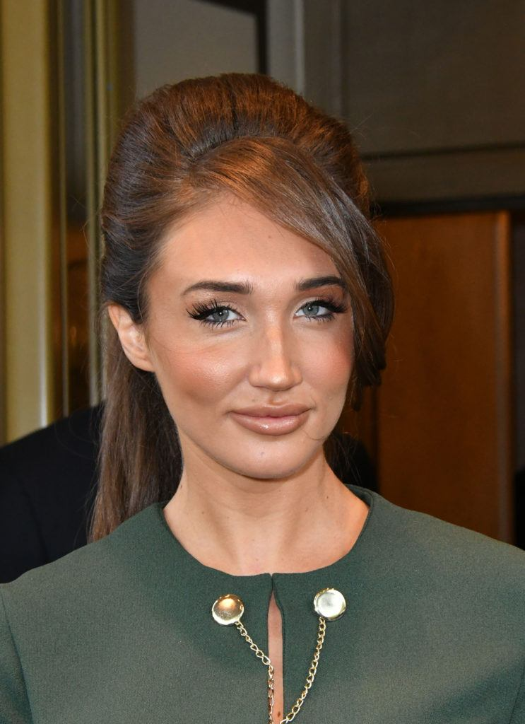 TOWIE star megan mckenna with her brunette hair in a retro beehive style