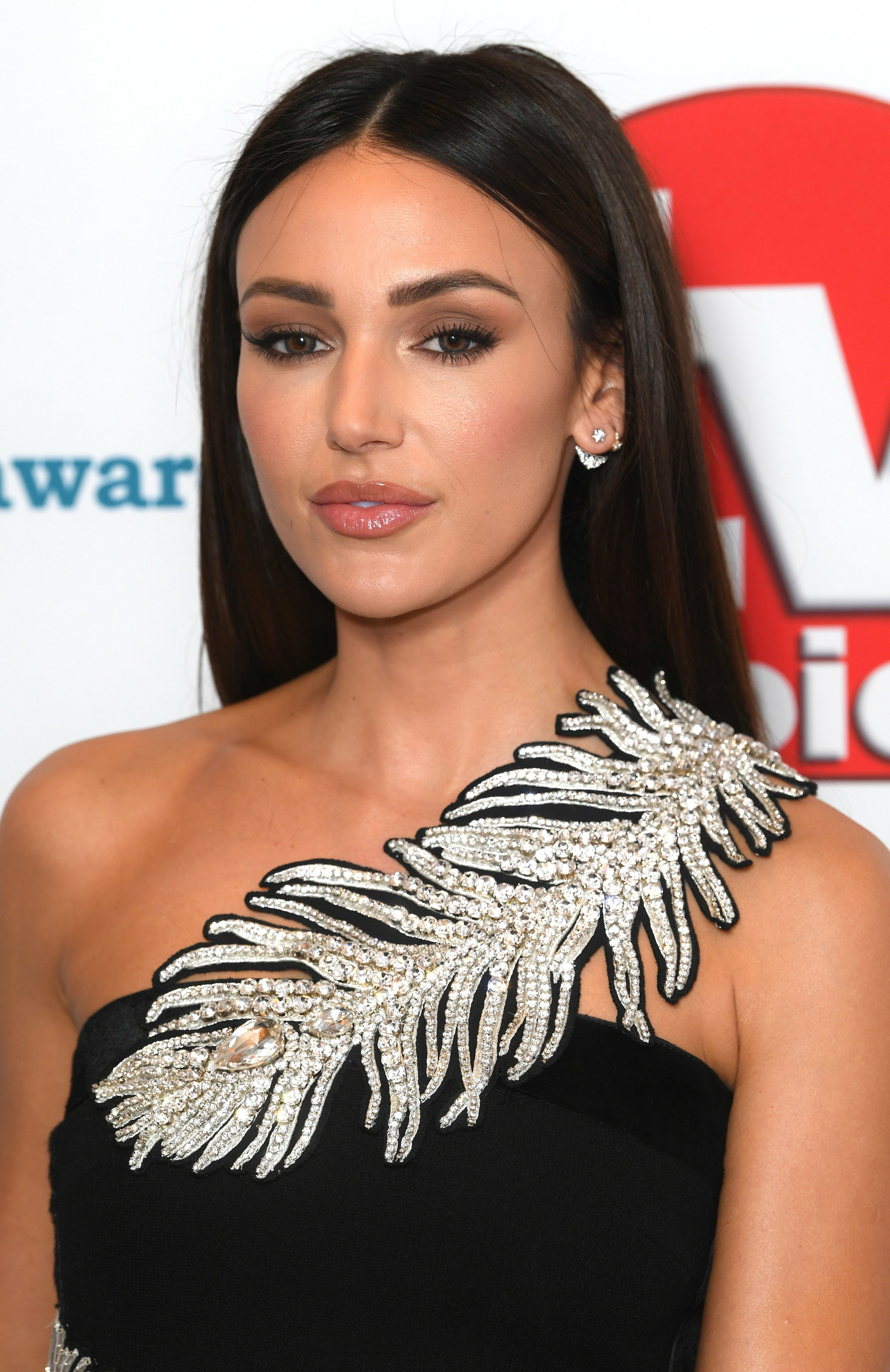 TV Choice Awards 2018 Michelle Keegan with middle parted long straight dark hair