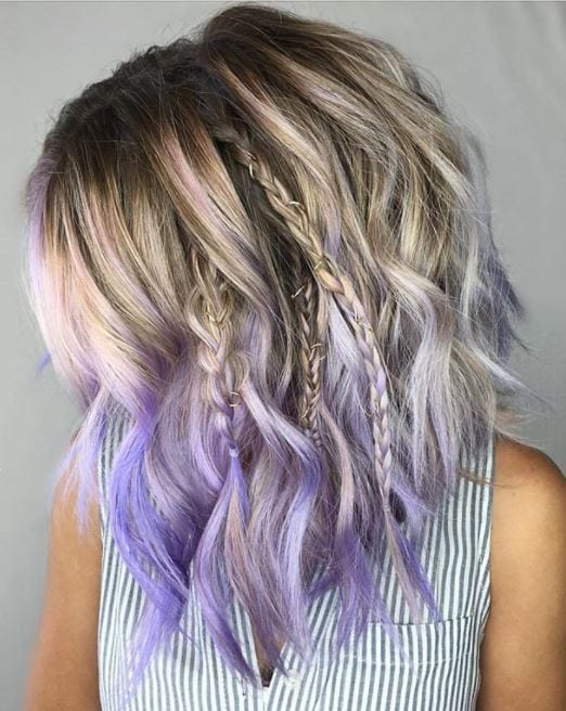 ash blonde hair with purple ombre finish and peek-a-boo braids