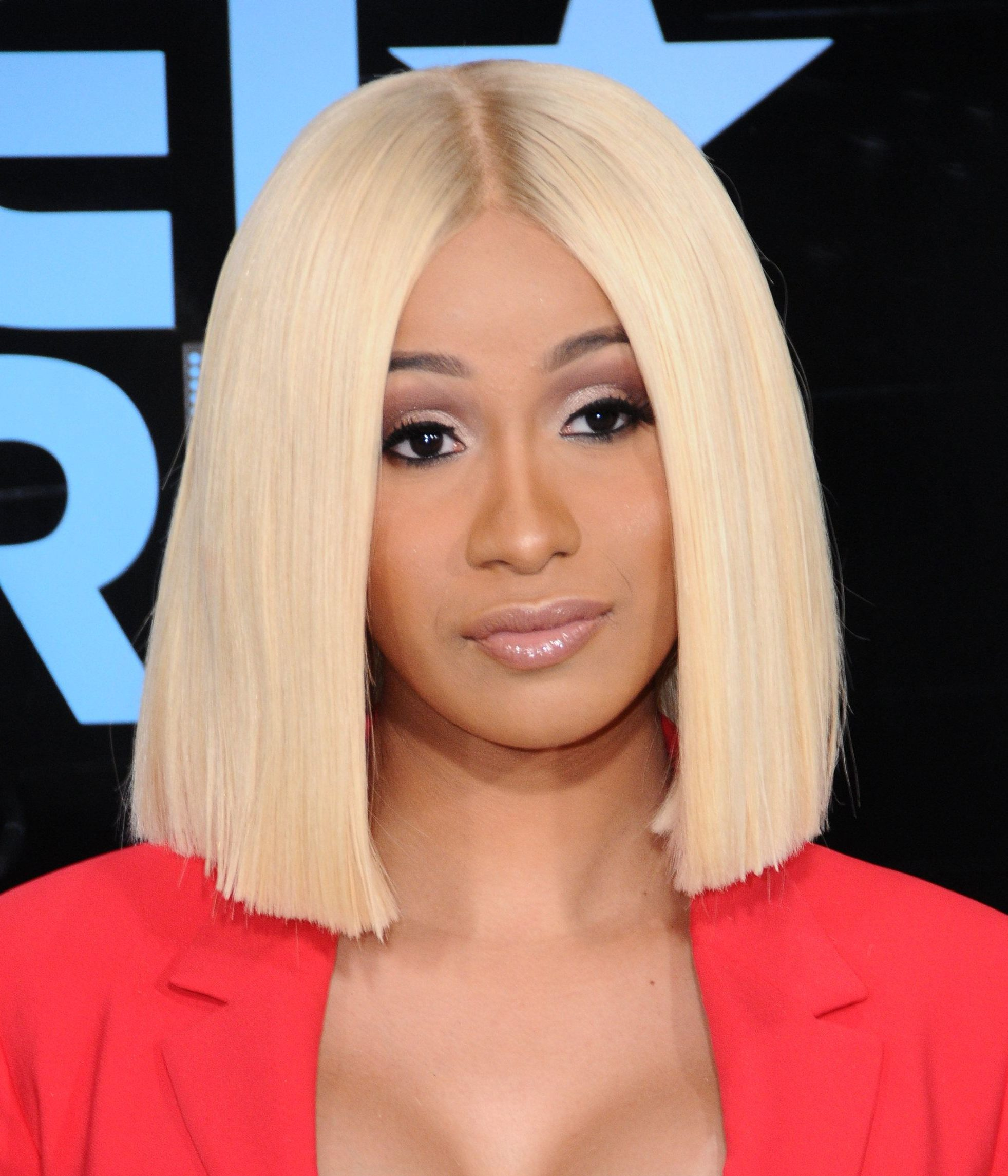 Cardi B platinum blonde straight and sleek bob at BET Awards 2017