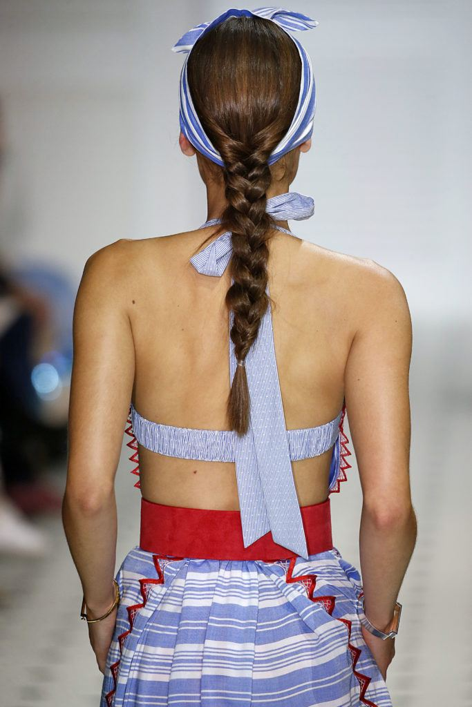 back shot of a temperley model at lfw ss18 with a brunette braid