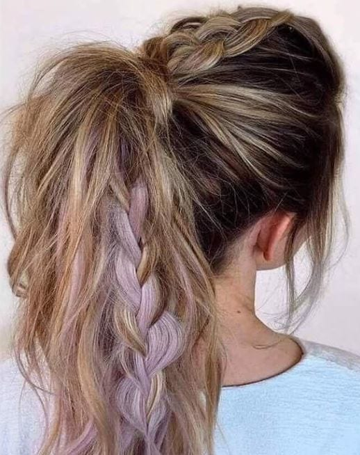 brown blonde balayage hair in ponytail with unicorn braid