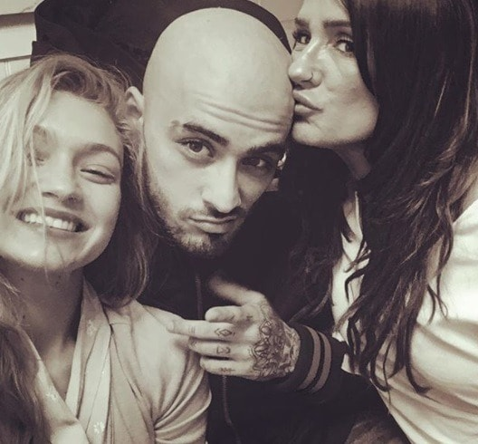 zayn malik with bald hairstyle with gigi hadid and his mum