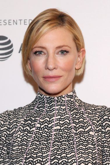 Cate Blanchett blonde straight bob in side parting