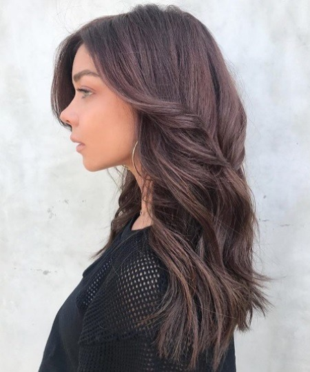 Fall hair colours: Profile photo of Modern Family actress Sarah Hyland with cinnamon chocolate brown curly wavy hair wearing a black mesh top.