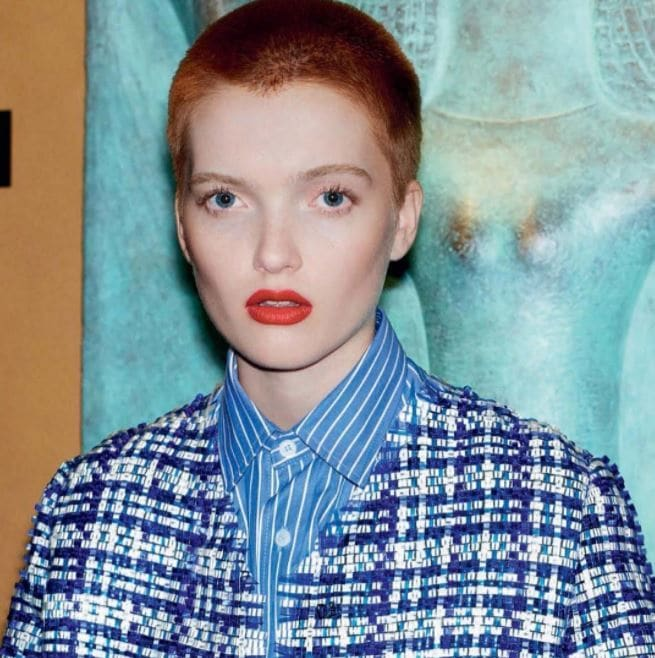Ruth Bell with read hair buzz cut dyed orage