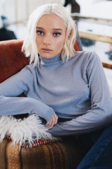 front view of maddie waterhouse with platinum blonde bob length hair