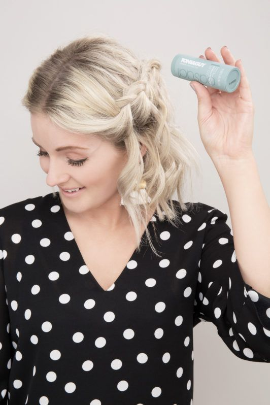 How to do a waterfall braid: Laura's Little Locket with short blonde wavy hair and waterfall braid sprinkling the Toni&Guy Root Lift Sculpting Powder