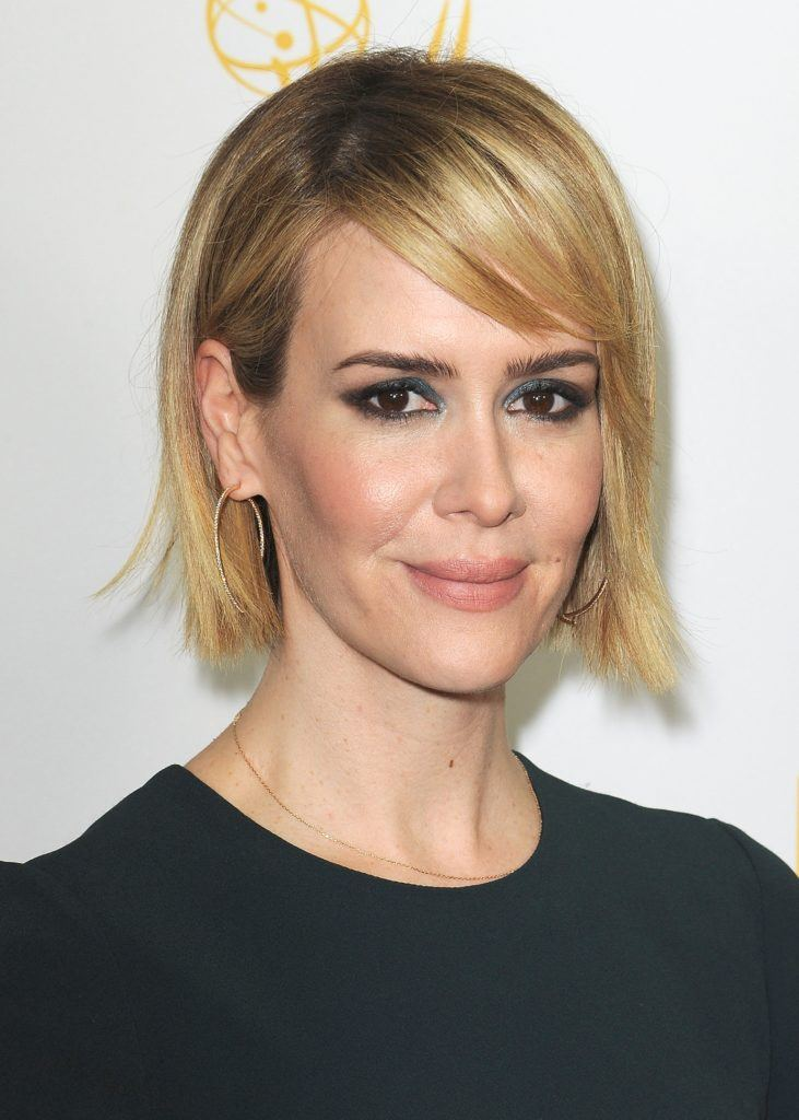 hair styles for straight fine hair 13 haircuts for hair from bobs to 9614 | sarah paulson side bob 731x1024