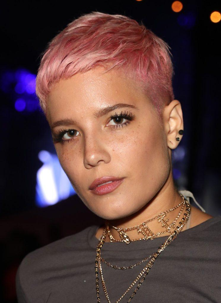 front view of halsey with bold pink pixie cut
