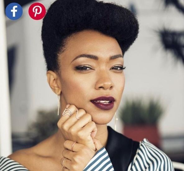 close up shot of sonequa martin-green with natural vintage updo hairstyle, wearing shirt and purple lipstick