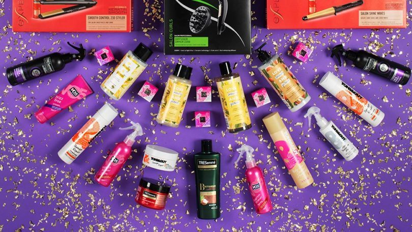 Best hair products of 2018: Flat lay shot of Unilever VO5, TONI&GUY, Tresemme and Love Beauty and Planet products.