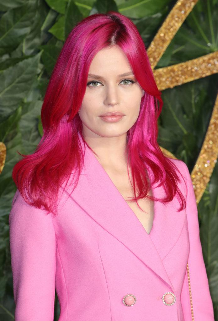 The Fashion Awards 2018: Georgia May Jagger with bright pink dyed hair, wearing a pink blazer suit