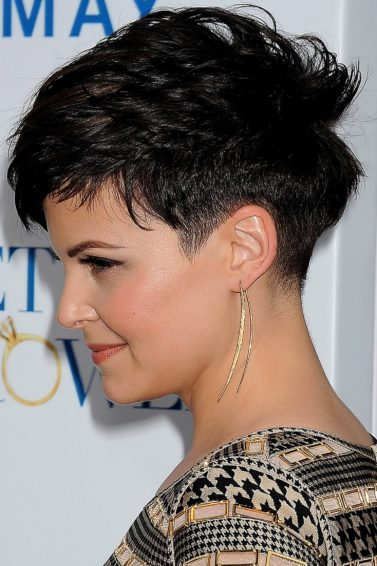 side view of ginnifer goodwin with dark brown taper choppy pixie cut