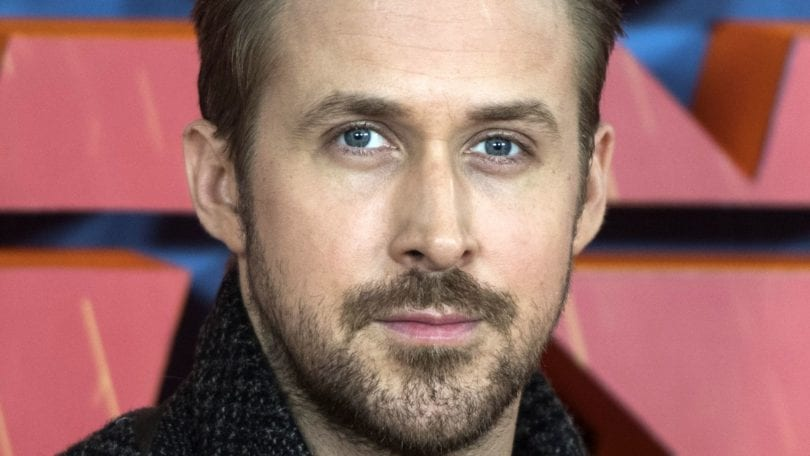 front view of Ryan Gosling with brown taper haircut