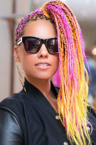 alicia keys in 2017 with long neon pink and yellow box braids
