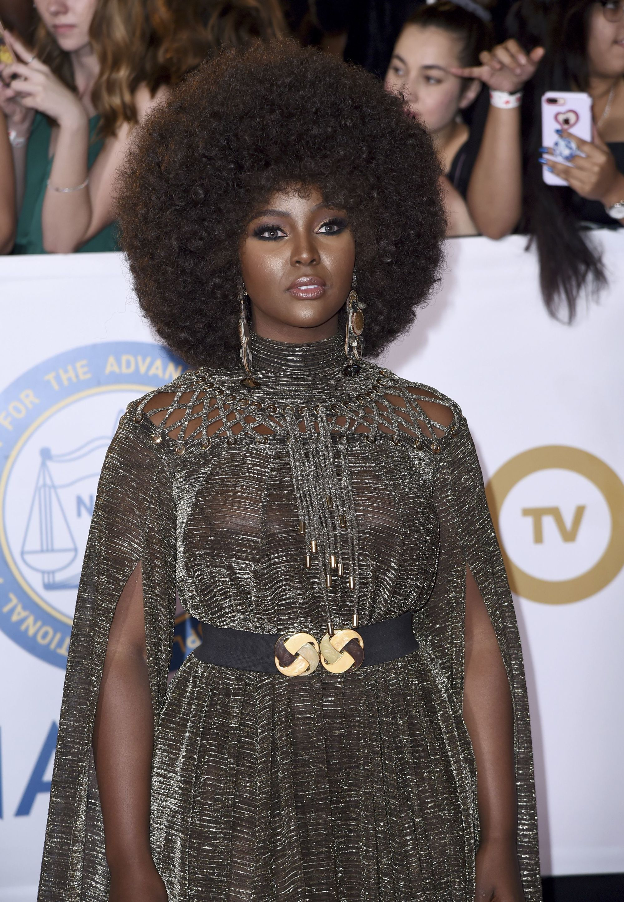 close up shot of amara la negra with power afro hairstyle, wearing silver and posing on the naacp image awards red carpet