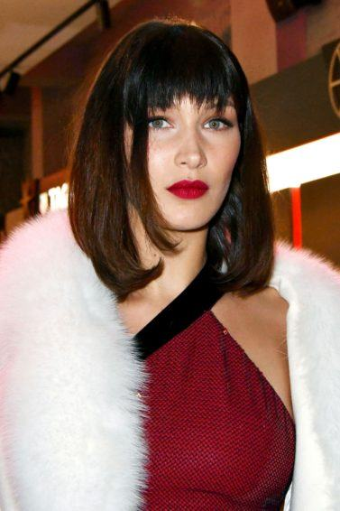 model Bella Hadid with a blunt bob cut with bangs